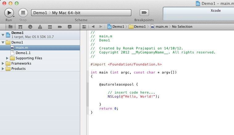 objective-c : xcode main work screen
