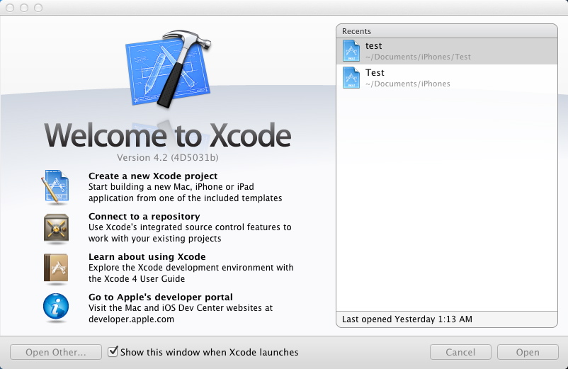 objective-c : xcode startup screen