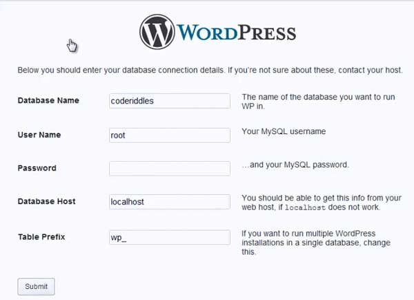 wordpress blog configuration